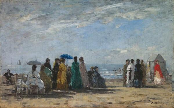 Eugène Boudin, *La Plage à Trouville*, 1869