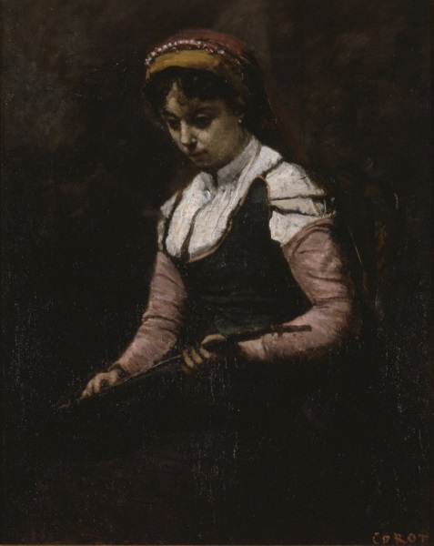 Jean-Baptiste-Camille Corot, *Girl with a Mandolin*, 1860-65