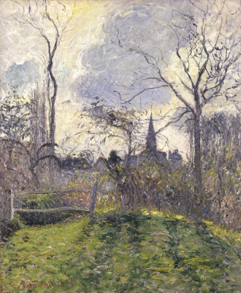 Camille pissarro le clocher de bazincourt 1885 french art for Camille pissarro oeuvre