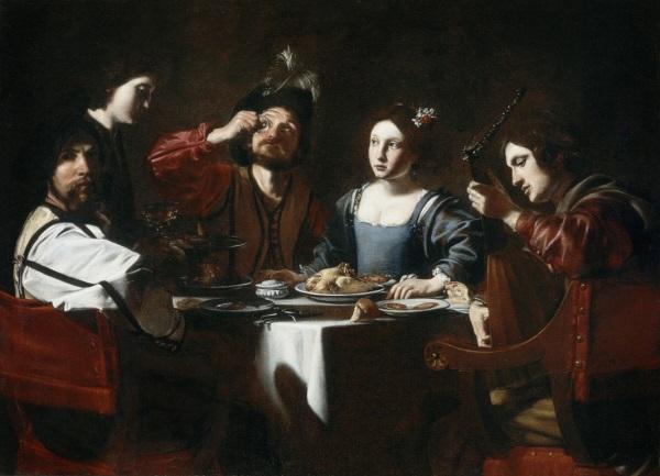 Nicolas Tournier, *Banquet Scene with a Lute Player*, c. 1625