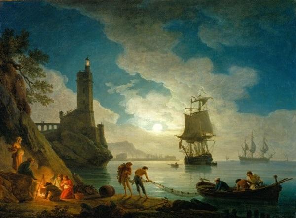 Joseph Vernet, *A Harbor in Moonlight*, 1787